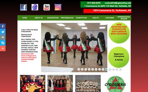 Screenshot of Home Page orourkeirishdancers.com - Home - captured May 9, 2017