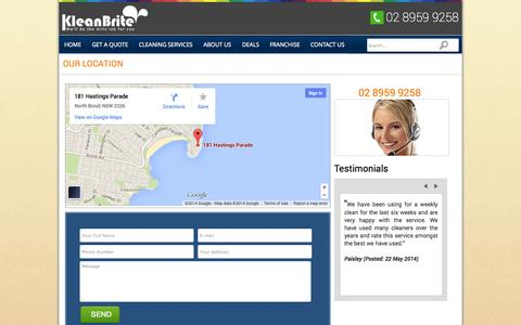 Screenshot of Contact Page kleanbritehomeservice.com.au - CONTACT US | kleanbritehomeservice - captured Sept. 22, 2014