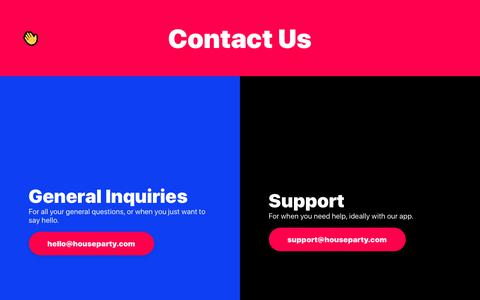 Screenshot of Contact Page houseparty.com - Houseparty | Contact Us - captured Jan. 13, 2019