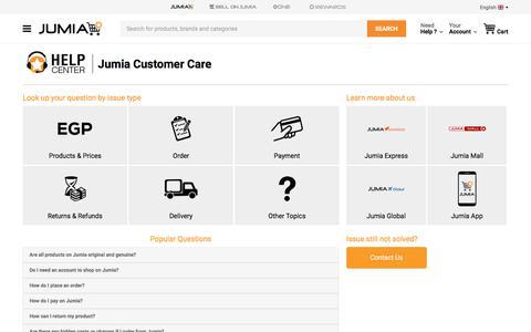 Screenshot of Contact Page FAQ Page jumia.com.eg - Jumia Help Center - Answers to Your Inquiries at Jumia Help | Jumia Egypt - captured Feb. 26, 2020