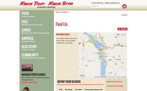Screenshot of Locations Page kwiktrip.com - Kwik Trip, Inc. - Locations - captured Sept. 22, 2014
