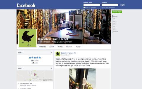 Screenshot of Facebook Page facebook.com - BlackBird Frame & Art - Asheville, NC - Home Decor, Arts & Entertainment | Facebook - captured Oct. 23, 2014