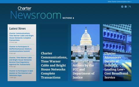 Screenshot of Press Page charter.com - Home | Charter Communications Newsroom - captured May 19, 2016