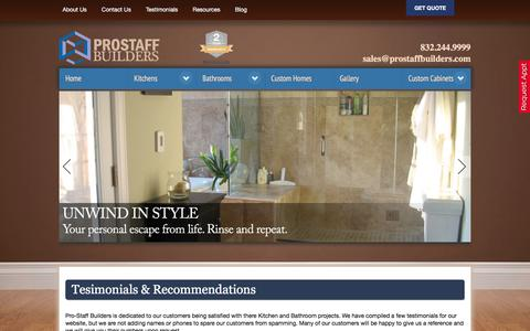 Screenshot of Testimonials Page prostaffbuilders.com - Testimonials - Prostaff Builders - captured Dec. 13, 2015