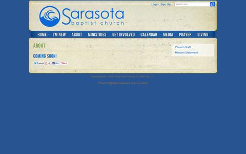 Screenshot of About Page sarasotabaptist.com - About - captured Oct. 4, 2014