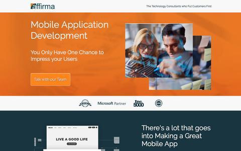 Screenshot of Landing Page affirmaconsulting.com - Mobile Application Developer - captured March 22, 2018