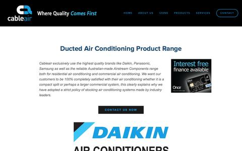 Screenshot of Products Page cableair.com.au - Cableair- Reverse Cycle Ducted Air Conditioning — Reverse cycle ducted product range - captured Dec. 6, 2015