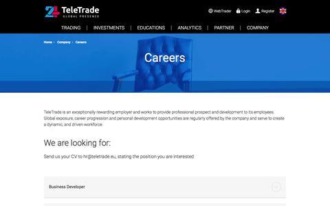 Screenshot of Jobs Page teletrade.eu - Job Openings - TeleTrade | Official Forex Trading Sponsor of Burnley F.C. - captured April 20, 2018