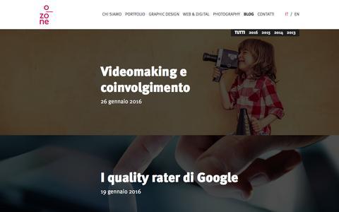 Screenshot of Blog o-zone.it - O-zone blog: novità pubblicitarie e di comunicazione - captured Feb. 26, 2016