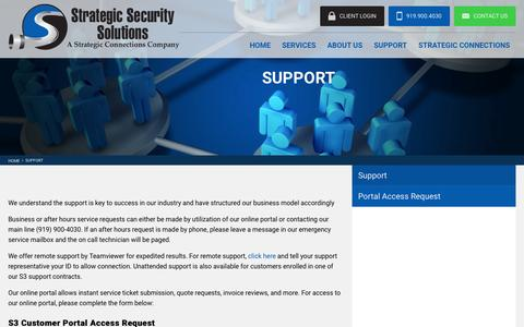 Screenshot of Support Page s3nc.com - Support - Strategic Security Solutions - captured Dec. 2, 2016