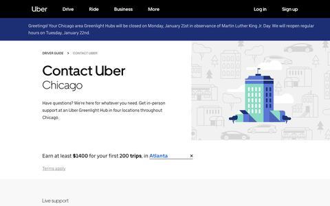 Screenshot of Contact Page uber.com - Contact Uber   Greenlight Hubs in Chicago   Uber - captured Jan. 18, 2019