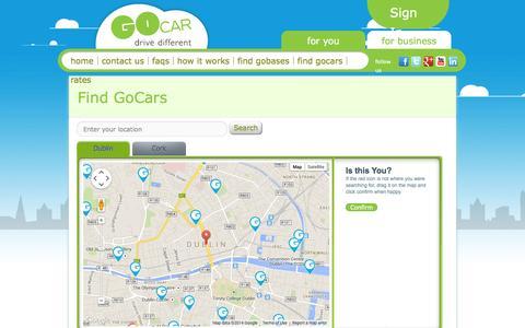 Screenshot of Maps & Directions Page gocar.ie - Find GoCars - captured Sept. 25, 2014
