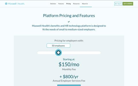 Screenshot of Pricing Page maxwellhealth.com - Pricing | Maxwell Health - captured May 21, 2018