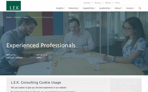 Experienced Professionals | L.E.K. Consulting
