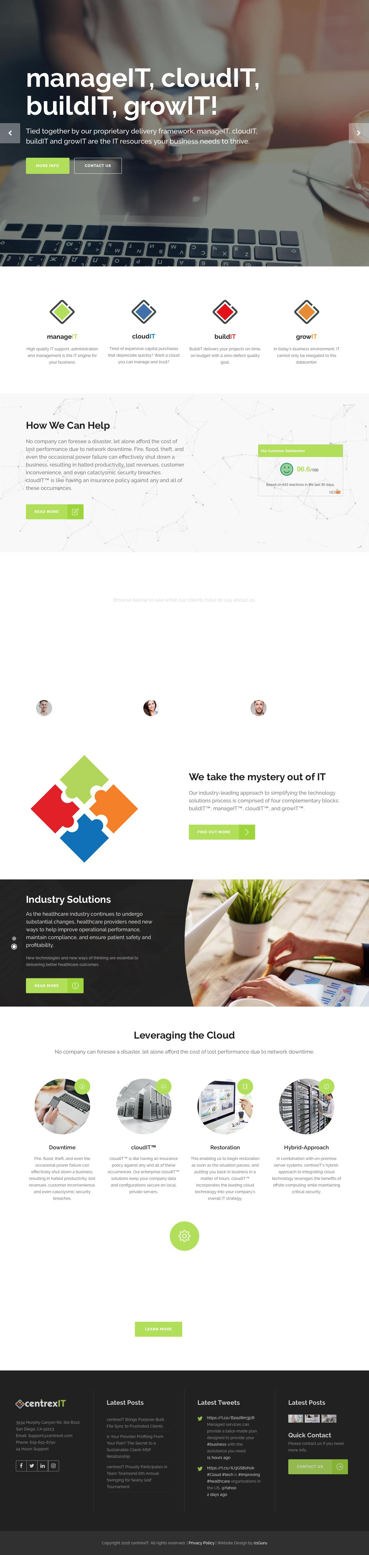 Screenshot of centrexit.com - Main Home - San Diego's Leader in IT Management and IT Consulting - centrexIT - captured Oct. 4, 2016