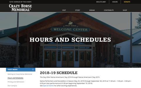 Screenshot of Hours Page crazyhorsememorial.org - Hours and Schedules : Crazy Horse Memorial® - captured Nov. 11, 2018