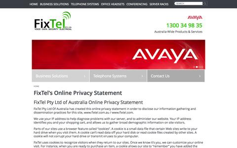 Screenshot of Privacy Page fixtel.com.au - FixTel Privacy Statement: Conference Phones | Avaya Support - captured Oct. 30, 2014