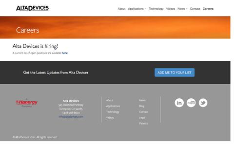 Screenshot of Jobs Page altadevices.com - Careers - Alta Devices Alta Devices - captured July 3, 2016