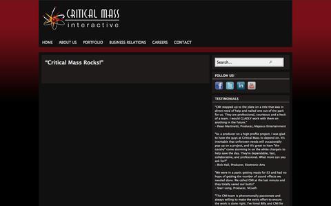 Screenshot of Testimonials Page criticalmassinteractive.com - Testimonials - captured Oct. 27, 2014