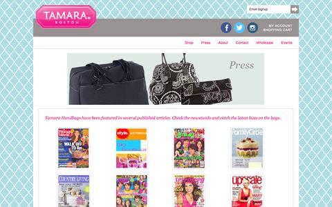 Screenshot of Press Page tamarahandbags.com - Tamara Boston In In The News - captured Oct. 9, 2014