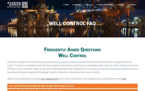 Screenshot of FAQ Page athensgroup.com - Well Control FAQ - Athens Group - captured July 31, 2018