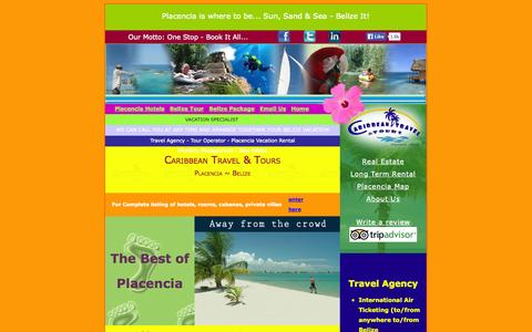 Screenshot of Home Page ctbelize.com - Placencia Hotels, Placencia Vacation Rental, Belize Vacation - captured Oct. 1, 2014