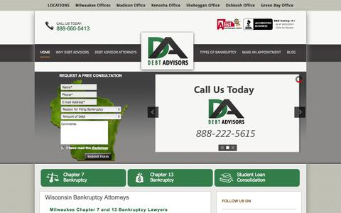 Screenshot of Home Page Site Map Page mydebtadvisors.com - Wisconsin Bankruptcy Lawyer | Milwaukee Chapter 7 & 13 Bankruptcy Attorney | Kenosha Debt Relief Law Firm - captured Oct. 5, 2014