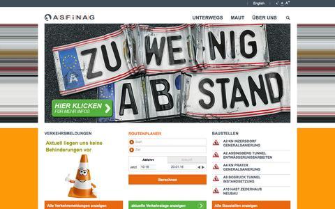 Screenshot of Home Page asfinag.at - start - asfinag.at - captured Jan. 20, 2016