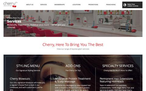 Screenshot of Services Page cherryblowdrybar.com - Blow Dry Bar Services - captured July 17, 2018