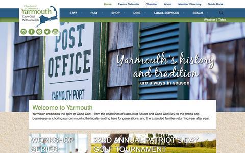 Screenshot of Home Page yarmouthcapecod.com - Yarmouth, Cape Cod, MA - captured Feb. 4, 2016
