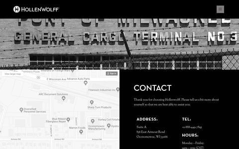 Screenshot of Contact Page hollenwolff.com - Contact HollenWolff - captured July 21, 2018