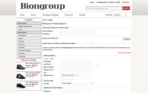 Screenshot of Login Page biongroup.co.uk - Login : biongroup: Save 60% off - Athletic Shoes ,hats and Bags & Backpacks Free Shipping on Select Items Home - captured Feb. 16, 2016