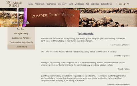 Screenshot of Testimonials Page prwinery.com - Testimonials - Paradise Ridge Winery - captured Sept. 26, 2018