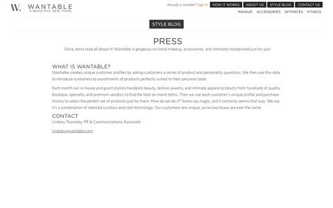 Screenshot of Press Page wantable.com - Wantable Press - captured Oct. 30, 2014