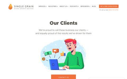 Screenshot of Case Studies Page singlegrain.com - Digital Marketing Case Studies - Single Grain - captured April 28, 2018