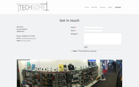 Screenshot of Contact Page techsome.eu - Contact - Sales Agency specialized in the IoT & Wearable Tech - Techsome - captured Oct. 26, 2014