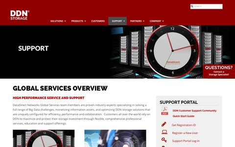 Screenshot of Support Page ddn.com - Big Data Services | DDN - captured Oct. 6, 2018