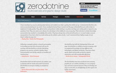 Screenshot of Testimonials Page zerodotnine.co.uk - Testimonials - Web design Hampshire and Web design East Sussex - captured Oct. 27, 2014