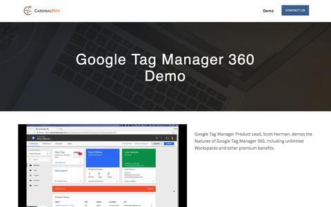 Screenshot of Landing Page cardinalpath.com - Google Tag Manager Demo - captured July 27, 2017
