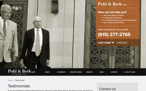 Screenshot of Testimonials Page pohlberk.com - Testimonials, Client Reviews | Pohl & Berk, LLP - captured Sept. 24, 2018