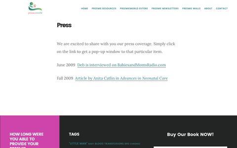 Screenshot of Press Page preemieworld.com - Press | PreemieWorld - captured Aug. 24, 2017
