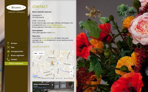 Screenshot of Contact Page broers.eu - Broers stadscafé en restaurant - Contact - captured March 4, 2016