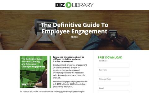 Screenshot of Landing Page bizlibrary.com - The Definitive Guide to Employee Engagement [eBook] - captured April 21, 2018