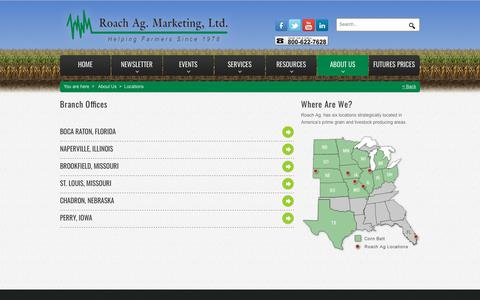 Screenshot of Locations Page roachag.com - Roach Ag Office Locations - captured Nov. 17, 2018