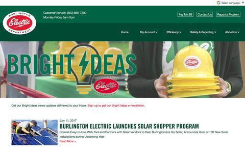Screenshot of Press Page burlingtonelectric.com - Bright Ideas | News | Burlington Electric Department - captured Oct. 11, 2017
