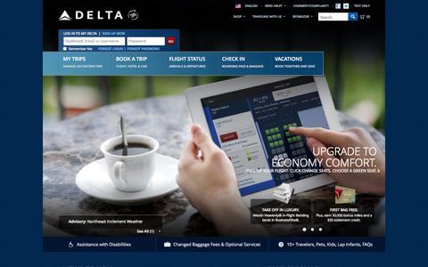 Screenshot of Home Page delta.com - Airline Tickets and Flights to Worldwide Destinations - Delta Air Lines - captured Jan. 27, 2015