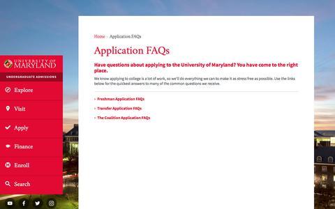 Screenshot of FAQ Page umd.edu - Application FAQs   UMD Undergraduate Admissions - captured Oct. 13, 2017