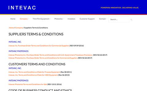 Screenshot of Terms Page intevac.com - Intevac Corporation | Suppliers Terms and Conditions - captured Sept. 19, 2018