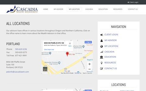 Screenshot of Locations Page cascadiawm.com - All Locations   Cascadia Wealth Management - captured Sept. 27, 2018