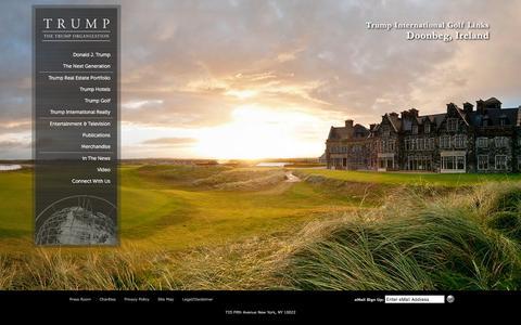 Screenshot of Home Page trump.com - Trump Luxury Real Estate | Trump Real Estate Portfolio | Trump Towers - captured Jan. 23, 2016